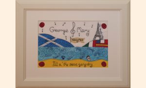 Framed picture, Musical Notes, Scottish Saltire, Sea, Eiffel Tower, flags, Robert Burns poem