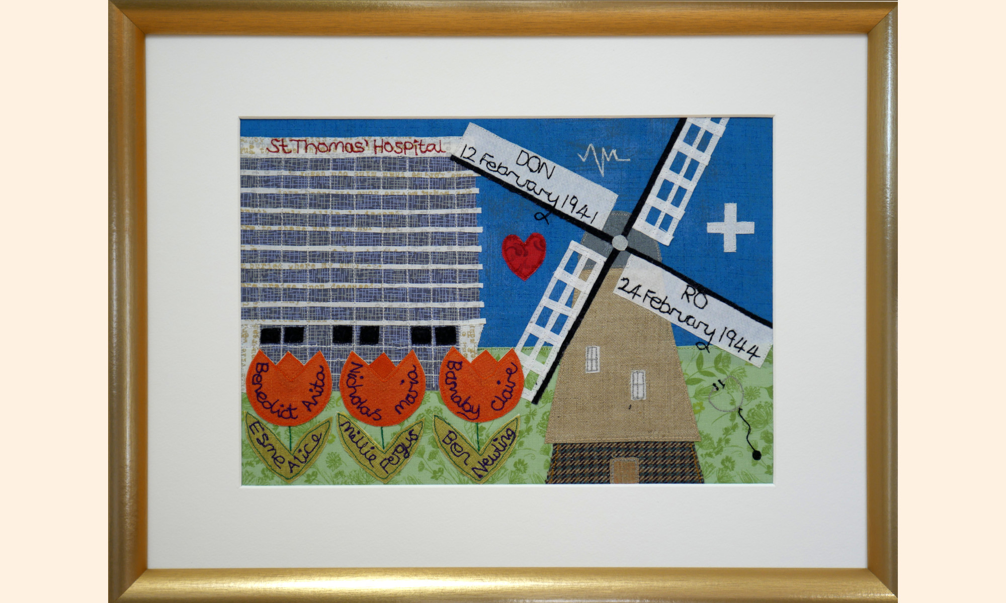 Framed picture, Hospital, Windmill and Tulip